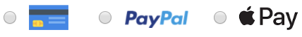 Credit card, PayPal or ApplePay